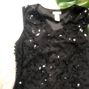 JS Collections Tops - Worthington Sequin Black Evening Top Sz M Stretch